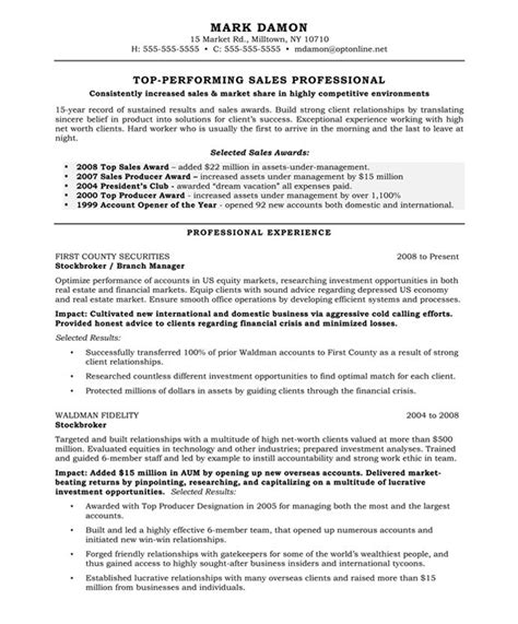 Resume Sles Of Experienced Professional Exle Resume Template For Sales Professional With Professional Experience