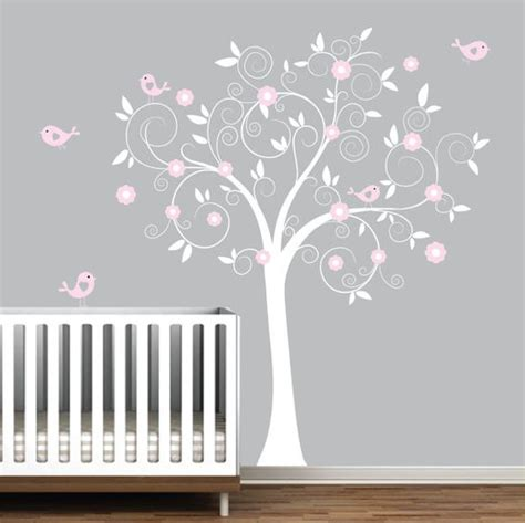 White Tree Wall Decal Nursery Vinyl Wall Decal Nursery Tree Decal Bird Tree Nursery E48 Vinyls White Trees And Grey