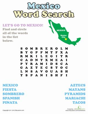 Mexico Search For Mexico Word Search Worksheet Education