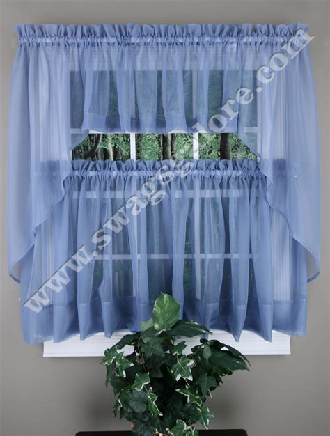 elegance sheer kitchen curtains smoked blue