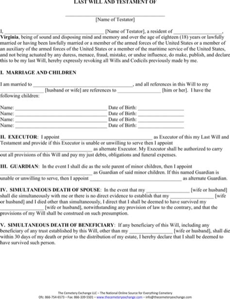 Download Virginia Last Will And Testament Form For Free Formtemplate Virginia Last Will And Testament Template