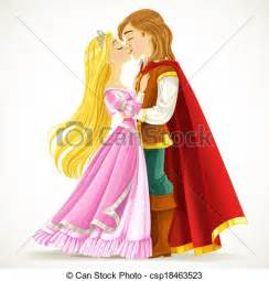 le prinzessin vector illustration of handsome prince kisses the princess
