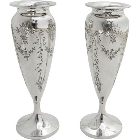 Small Silver Flower Vases Edwardian Style Small Engraved Floral Vases Pair Sterling