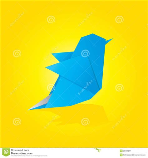 Origami Blue Bird - vector origami blue bird royalty free stock photography