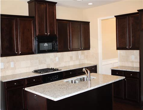 espresso kitchen cabinets with backsplash small spaces kitchen design with brown staining oak