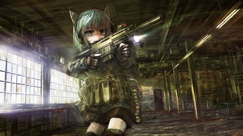 wallpaper anime girl gun girl with gun anime girls wallpapers theanimegallery com