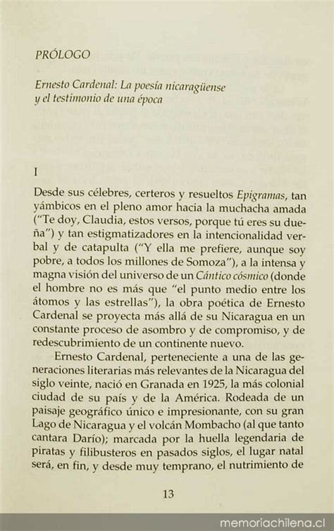 libro antologia de la lirica pr 243 logo ernesto cardenal la poes 237 a nicarag 252 ense y el testimonio de una 233 poca memoria chilena