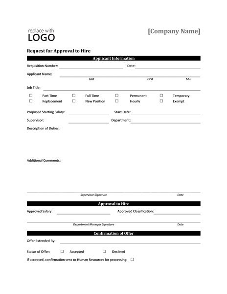 Exle Request Letter For New Computer In Office Request Form For Approval To Hire Office Templates