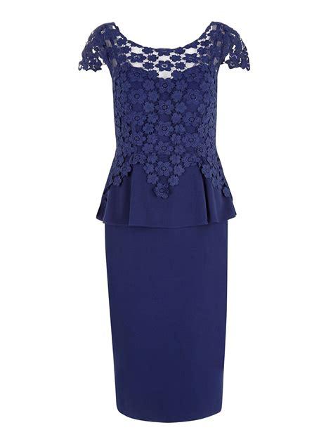 Blue Peplum Dress alexon sapphire blue lace peplum dress in blue lyst