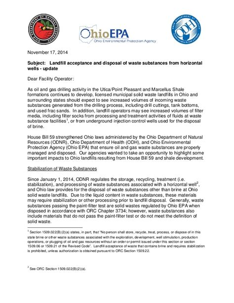 Acceptance Letter From Ohio State Guidance Letter From Ohio S Epa Odnr And Doh On Landfill