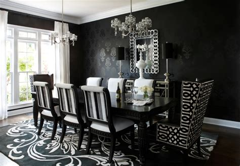 black dining rooms black and white wall paper room joy studio design