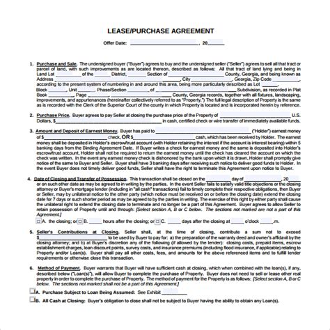 rent to buy contract template 9 lease purchase agreements free sle exle format