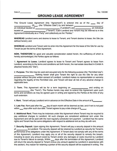 land rental agreement template land lease agreement template sarahepps