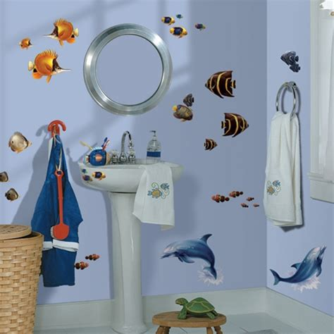 kids bathroom wall decor decorate kids bathroom under the sea tropical fish and dolphins wall decals