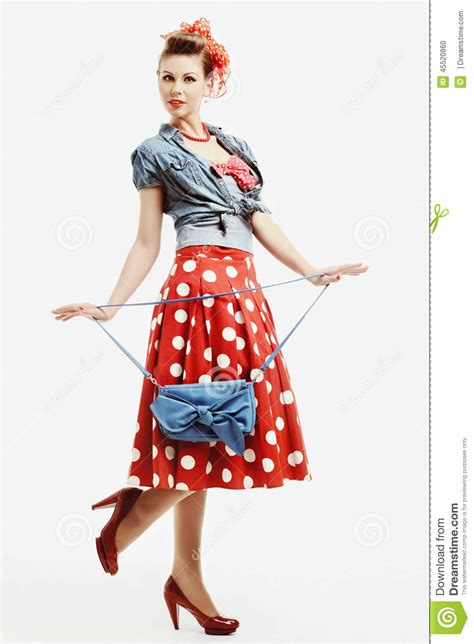 how to wear vintage for vintage industrial style pin up in vintage american style with a clutch stock photo image 45520860