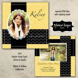 instant graduation announcement psd one 5x5 senior card front and back black