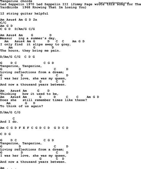 Tangerine Guitar Chords