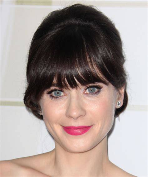 zooey deschanel updo hairstyles zooey deschanel long straight formal updo hairstyle with