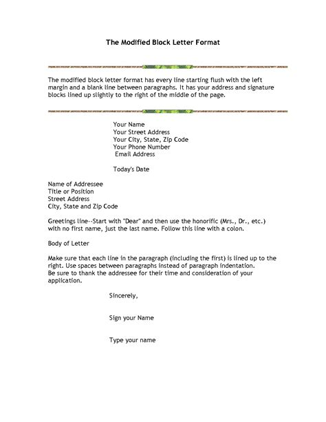 Block Style Business Letter In Word modified block business letter format letter format 2017