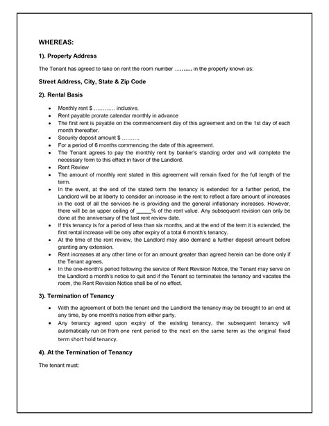 live in landlord tenancy agreement template tenancy agreement template