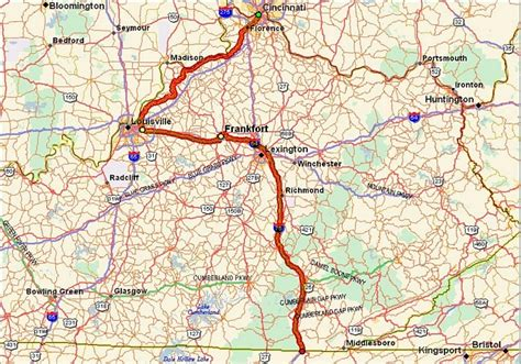 kentucky map i 75 route overview
