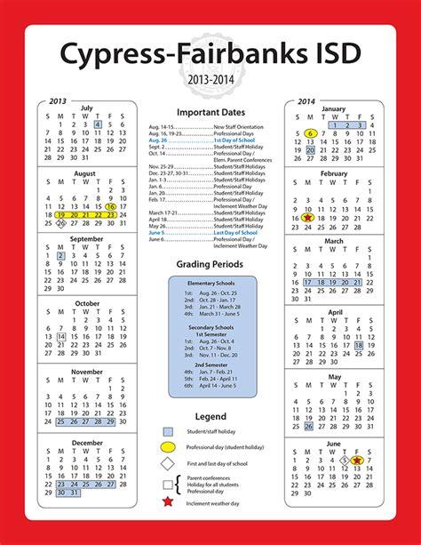 Cy Fair Calendar Cfisd Calendar 2017 Calendar 2017
