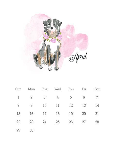 printable  watercolor dog calendar  cottage