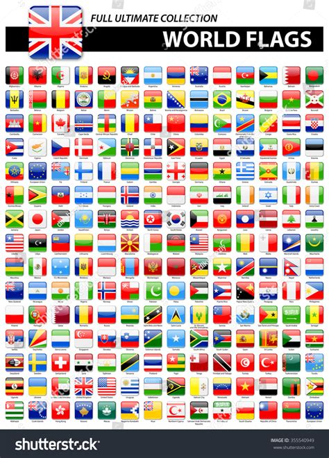 flags of the world ultimate glossy square flags world full ultimate stock vector