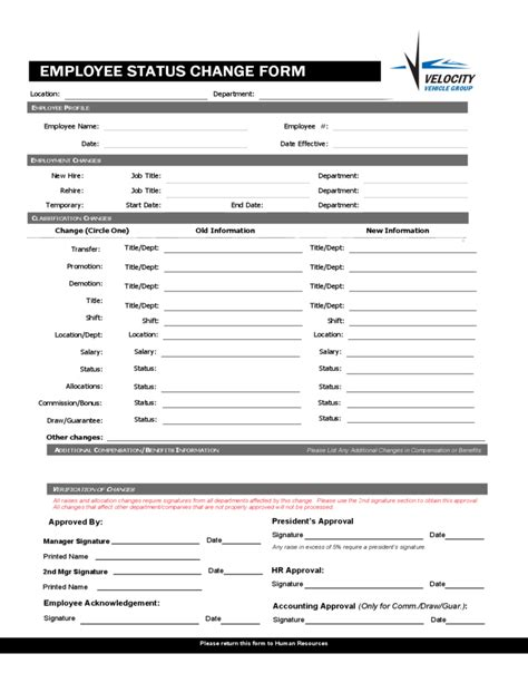 employee status change forms word excel sles
