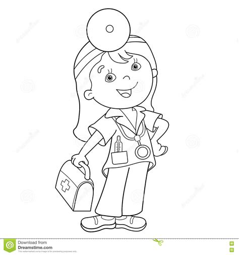 coloring pages girl doctor coloring page outline of cartoon doctor with first aid kit