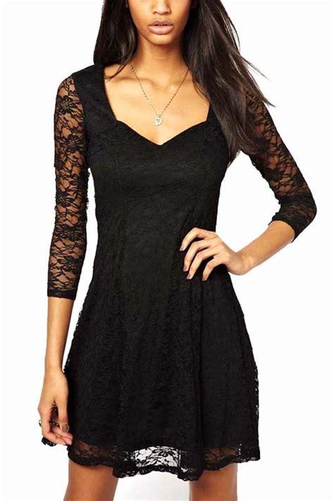 Black lace overlay three quarter sleeve dress casual dresses women