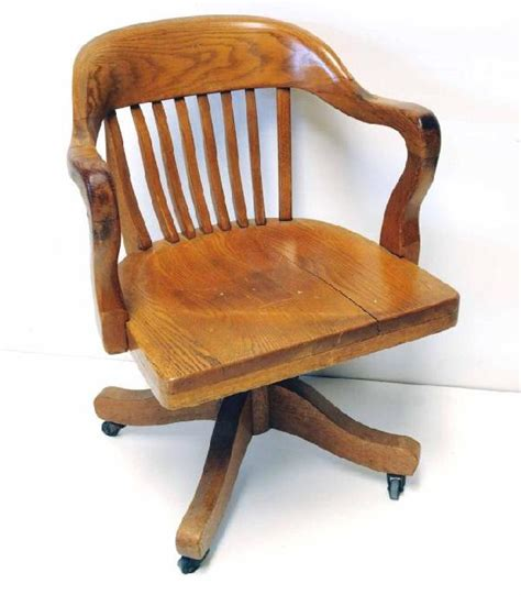 Old Solid Wood Swivel Desk Chair 16 Oak Swivel Desk
