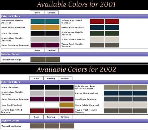 all pt cruiser exterior colors form 2001 2009 plus paint codes pt cruiser forum business