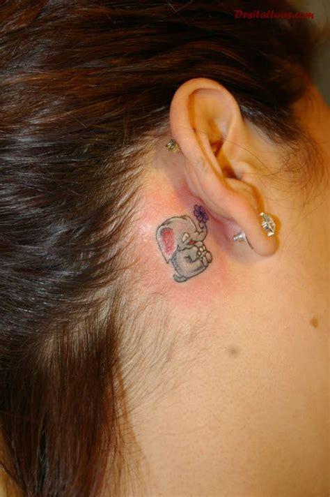 small elephant tattoo behind ear 15 elephant tattoos behind the ear