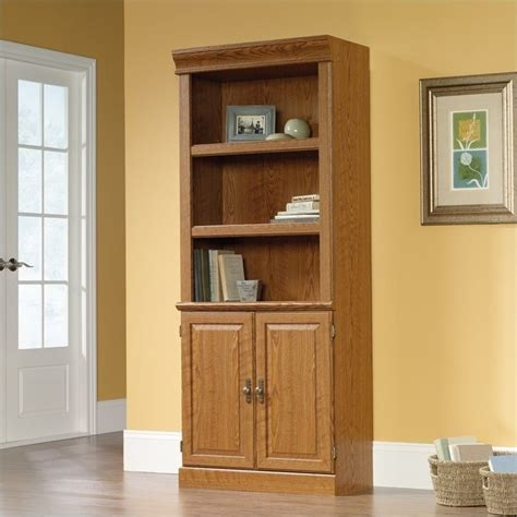 sauder bookcase oak finish sauder orchard hills wall library carolina oak finish