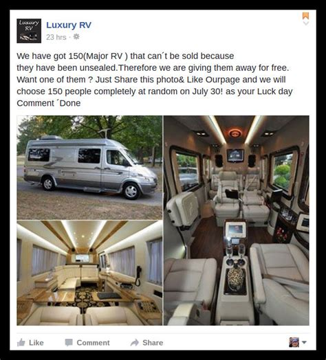 Motorhome Sweepstakes - luxury rv giveaway scam the south africa sa news and info