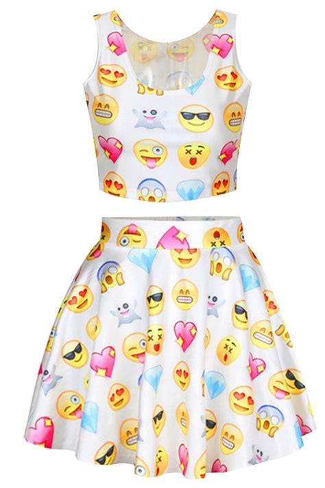 Twin Bed Bedroom Sets white chic emoji printed skater skirt suits pink queen