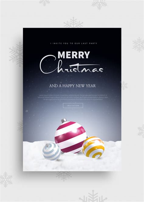 merry christmas  happy  year  greeting card template premium psd file
