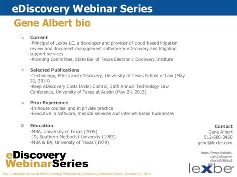 State Mba Webinar by Lexbe Ediscovery Webinar Top 10 Mistakes To Avoid When
