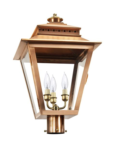 copper l post lantern as 780 post light copper lantern gas and electric lighting
