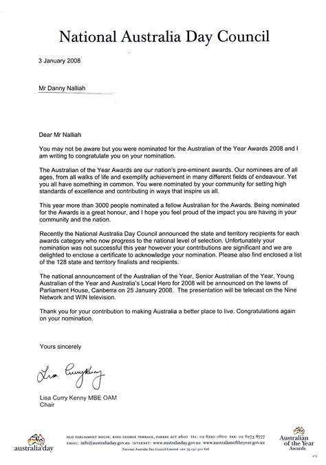 business letter layout australia australian of the year nomination award for pastor