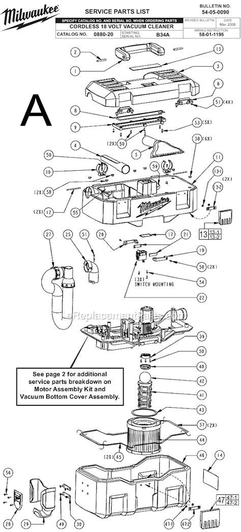 Vaccum Cleaner Hose Milwaukee 0880 20 Parts List And Diagram Ser B34a