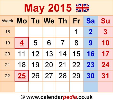Calendar May 2015 Calendar May 2015 Uk Bank Holidays Excel Pdf Word Templates