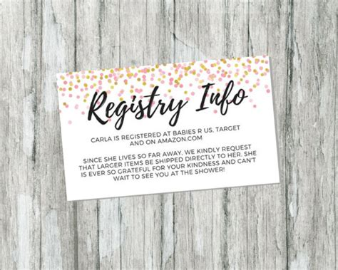 Baby Registry Gift Card - shower gift registry card pink and gold baby shower