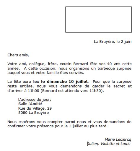 Exemple Type De Lettre D Invitation Modele Lettre Invitation Document