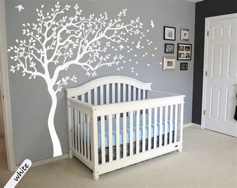 White Tree Wall Decals Large Tree Nursery Decoration White Wall Decals For Nursery