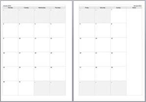 2 page monthly calendar printable free calendar template