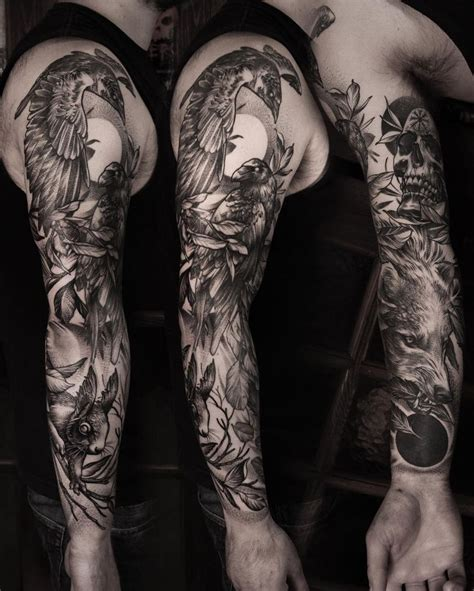 raven sleeve tattoo designs best 25 bird sleeves ideas on nature