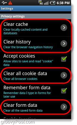 how to clear browsing history and cache on android phones