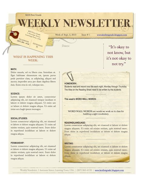 science newsletter templates free weekly newsletter template gazette style church